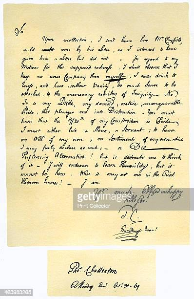 Letter from Thomas Chatterton to William Barrett 1769 Letter from the poet Thomas Chatterton to William Barrett surgeon of Bristol who had...