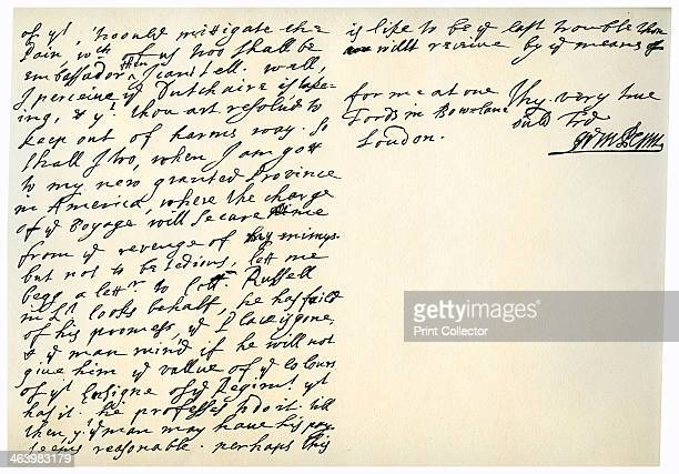Letter from William Penn to Colonel Henry Sydney 29th March 1681 Letter from William Penn founder of Pennsylvania to Colonel Henry Sydney Envoy at...