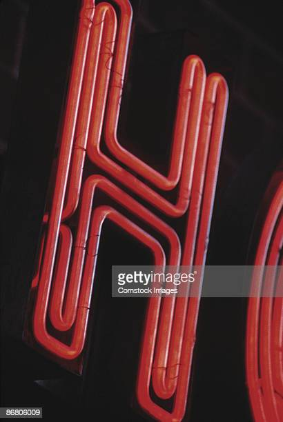 Letter H on neon sign