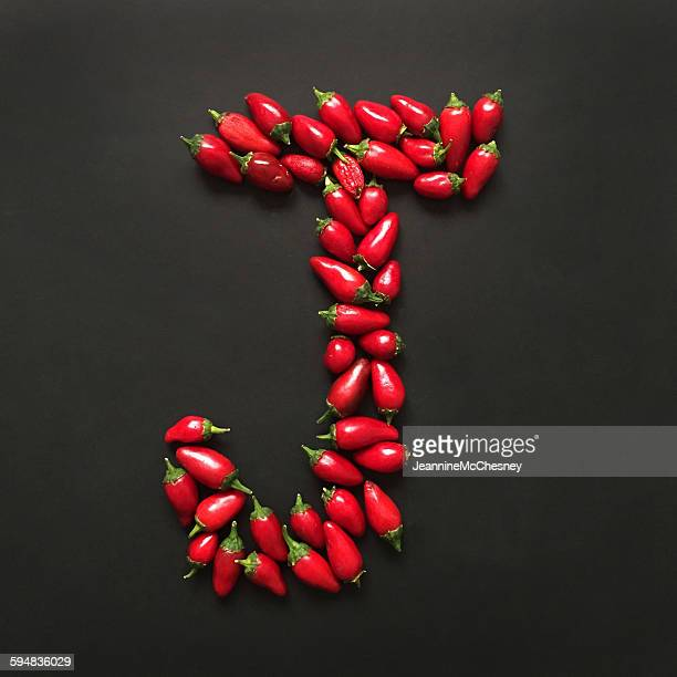 letter j made from jalapeno peppers - letra j - fotografias e filmes do acervo