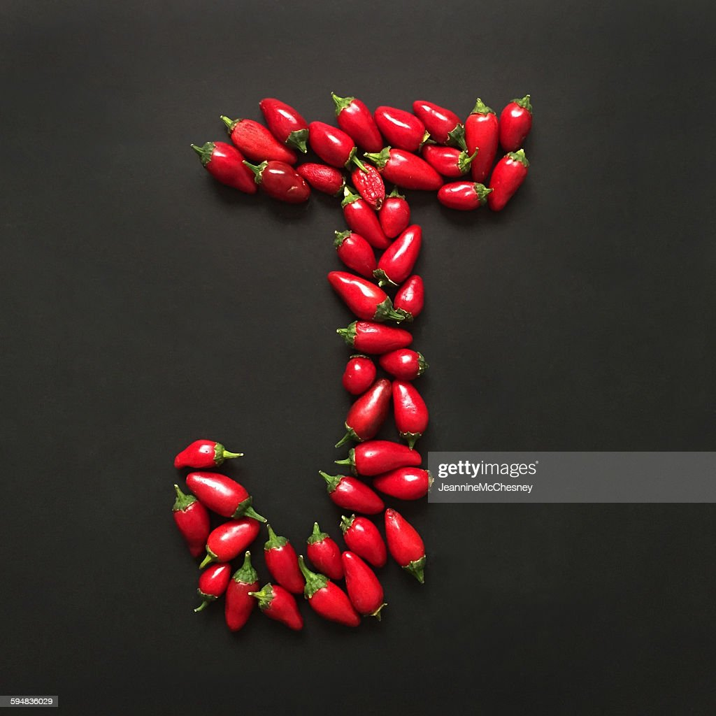 Charming Letter J Made From Jalapeno Peppers
