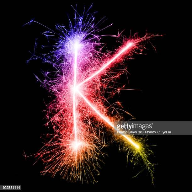06f1418ff7 Letter K Made By Multi Colored Sparklers At Night
