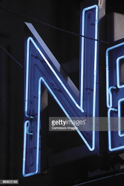 Letter N on neon sign