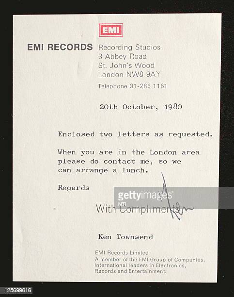 A letter of authentication written by EMI manager Ken Townsend that accompanies the toilet roll Barry Thomas bought from an auction for £8500 GBP...