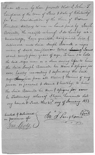 letter of sale for slave pictures getty images