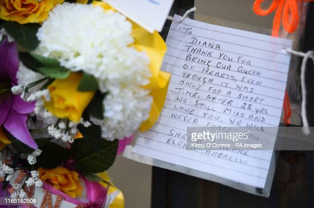 Letter outside Kensington Palace in London, on the 22nd anniversary of the death of Diana, Princess of Wales.