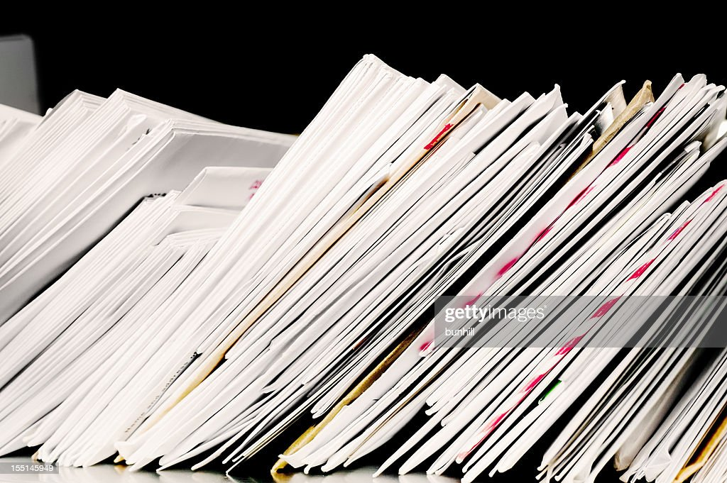 Letter post with stacks of incoming and outgoing mail : Stock Photo