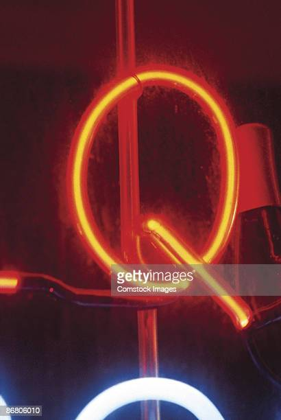 Letter Q on neon sign