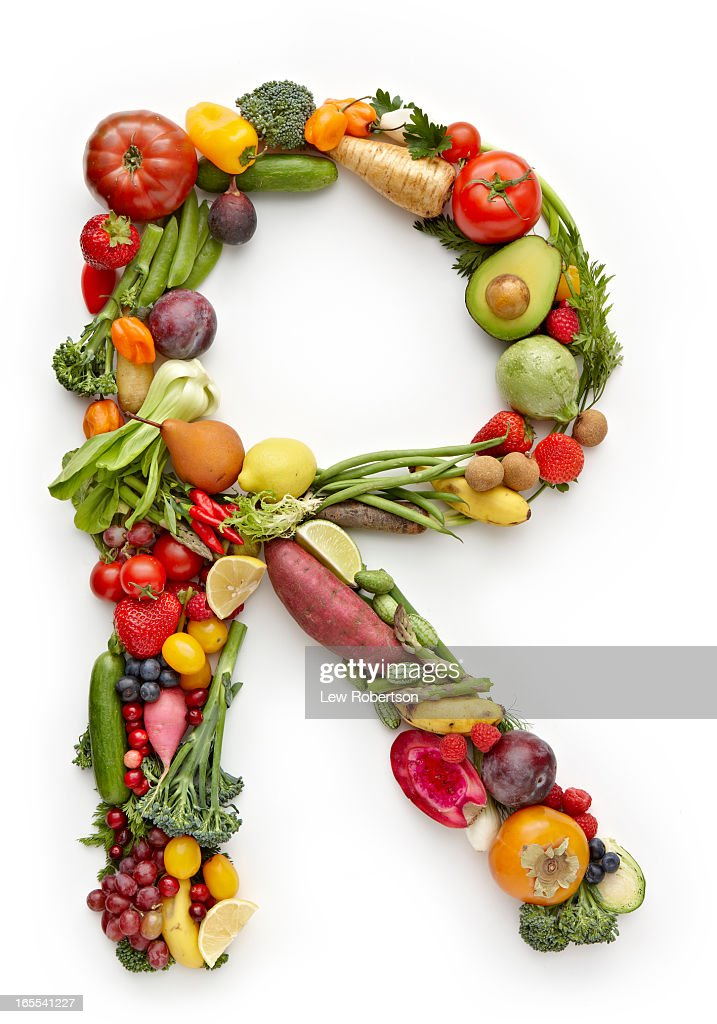 letter r in produce stock photo getty images