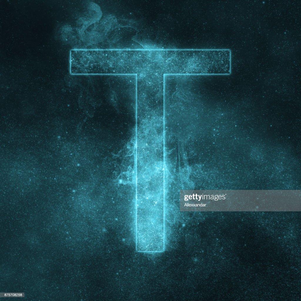 Letter T Alphabet Symbol Space Letter Night Sky Letter Stock Photo