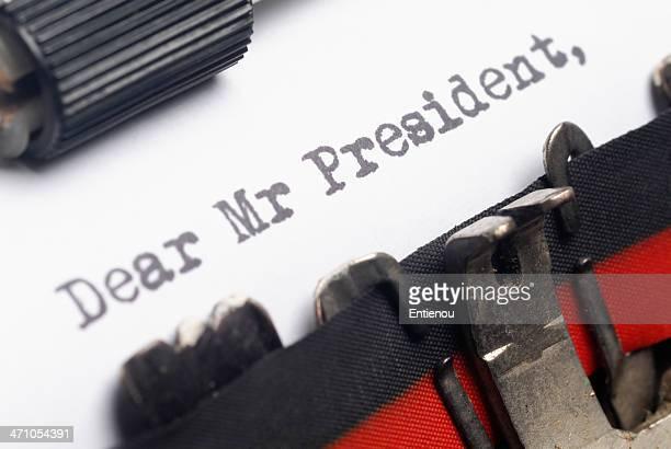 lettera al presidente - presidente foto e immagini stock