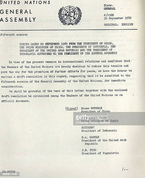 Letter to the President of the United States from Kwame Nkrumah President Sukarno of Indonesia Gamal Abdel Nasser Jawaharlal Nehru and Josip Broz...