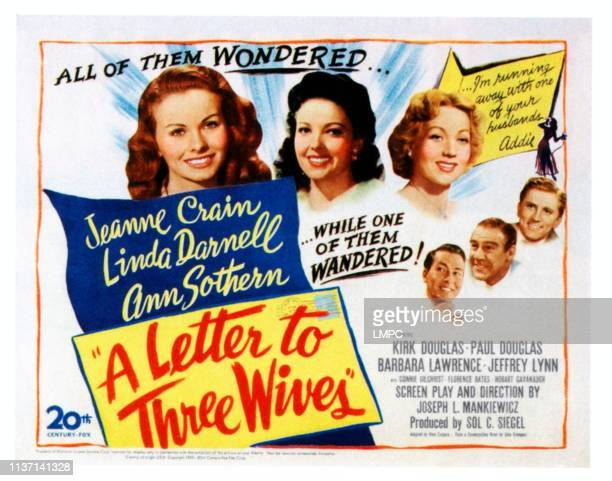 A Letter To Three Wives poster top from left Jeanne Crain Linda Darnell Ann Sothern bottom from left Jeffrey Lynn Paul Douglas Kirk Douglas on poster...