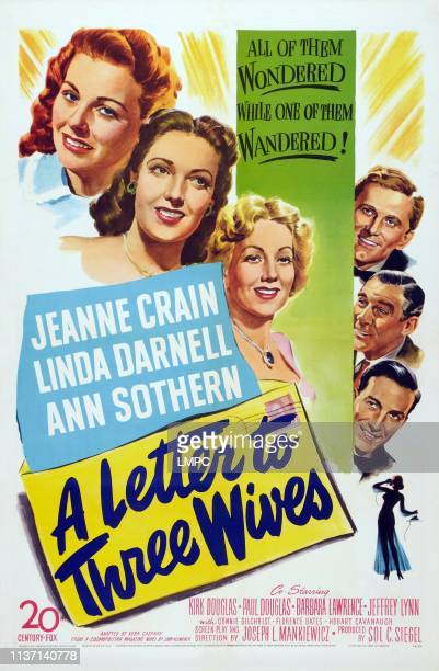 A Letter To Three Wives poster US poster art left from top Jeanne Crain Linda Darnell Ann Sothern right from top Kirk Douglas Paul Douglas Jeffrey...