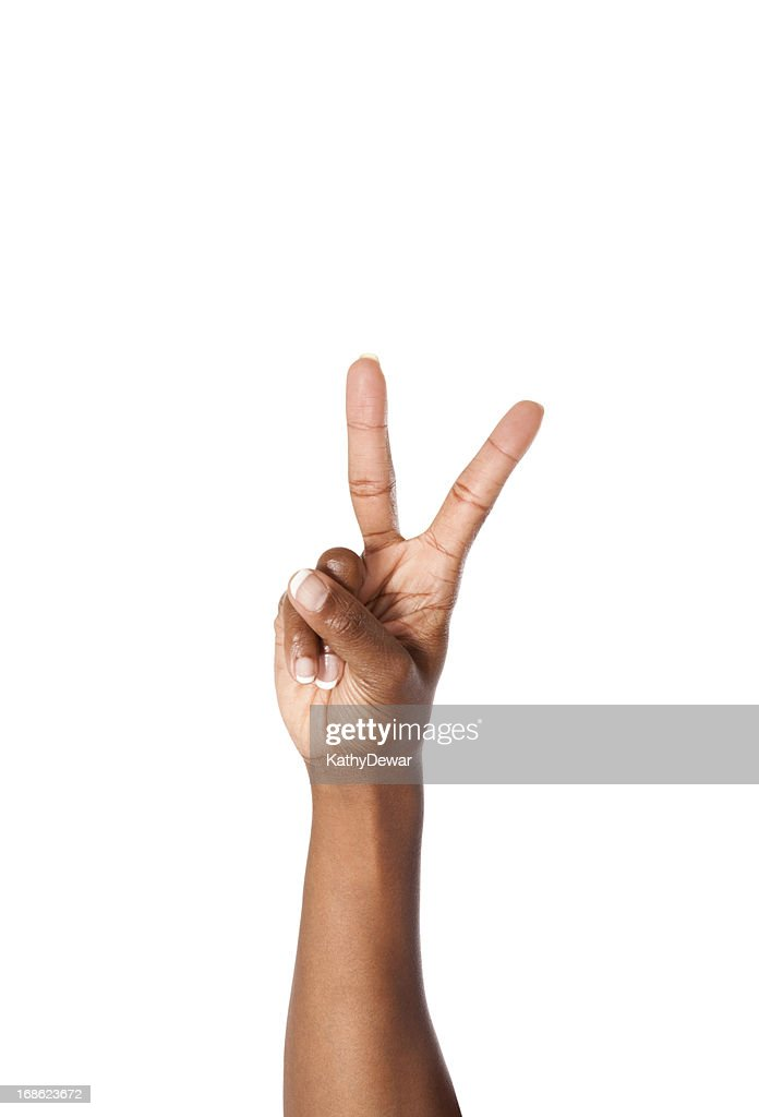 Letter V in American Sign Language : Stock Photo