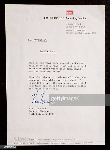 A letter written by EMI manager Ken Townsend that accompanies the toilet roll Barry Thomas bought from an auction for £8500 GBP which was rejected by...