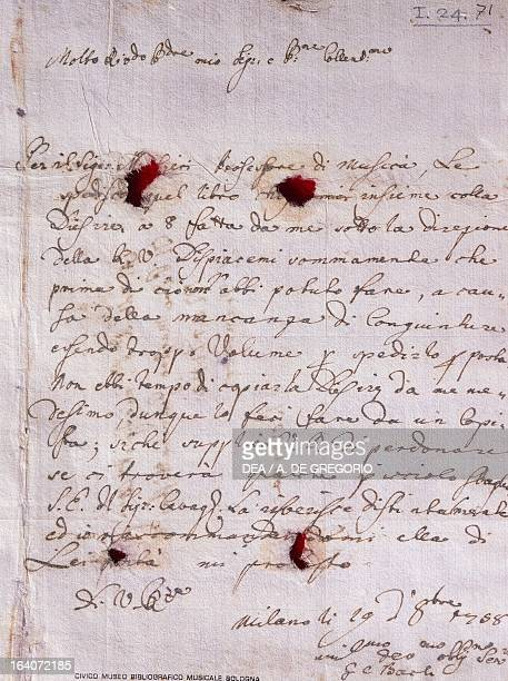 Letter written by Johann Christian Bach dated October 29 Milan Bologna Civico Museo Bibliografico Musicale