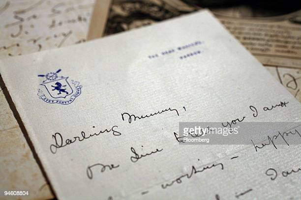 A letter written by Winston Churchill to his mother whilst at Harrow School displayed at Christie's in central London Tuesday June 26 2007 Christie's...