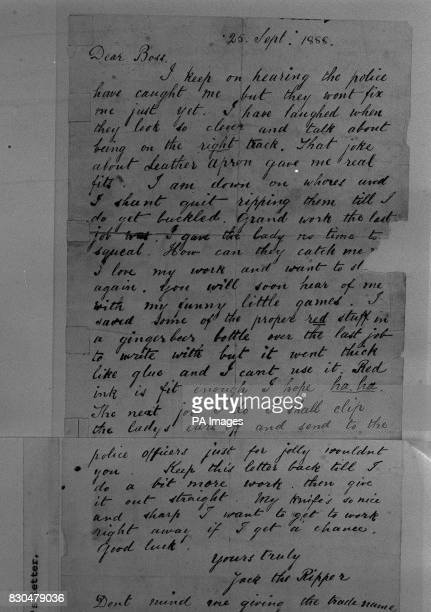 A letter written in red ink and signed Yours truly Jack the Ripper is back at Scotland Yard after going missing from police files a long time ago...