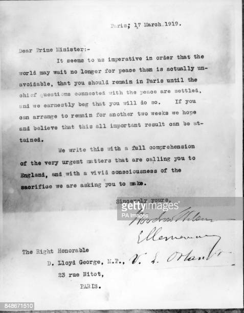 Letter written to Lloyd George asking him to remain in Paris, signed by M Clemenceau, Woodrow Wilson and Vittorio Orlando.
