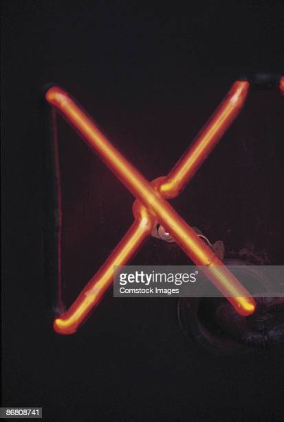Letter X on neon sign