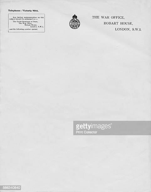 'Letterheaded paper from The War Office Hobart House London SW1' 20th century The War Office was a department of the British Government responsible...