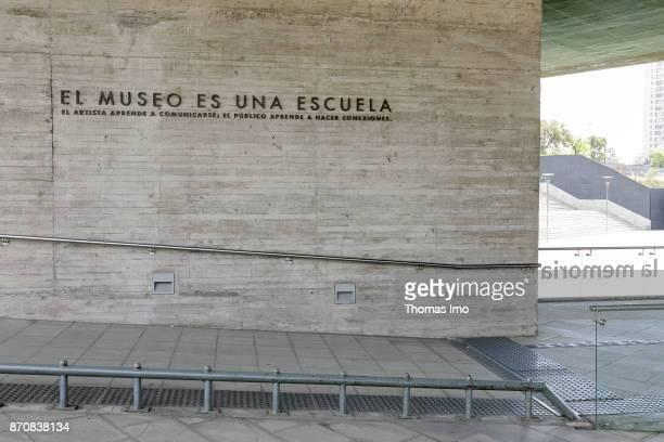 Lettering 'EL MUSEO ES UNA ESCUELA' at the Museo de la Memoria y los Derechos Humanos Museum of Remembrance and Human Rights on October 16 2017 in...
