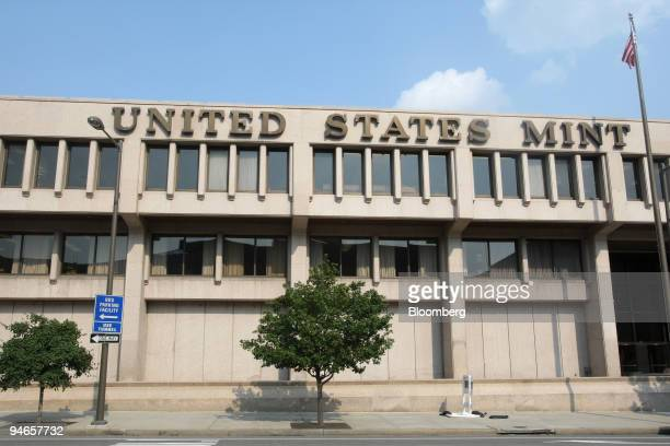 Lettering for the United States Mint appears on the facade of the US Mint building in Philadelphia Pennsylvania on Wednesday Aug 8 2007 The US...