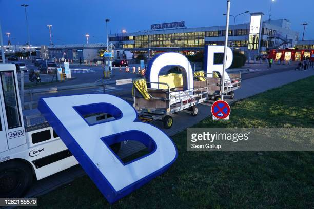 Lettering from the Flughafen Berlin Schoenefeld inscription that stood over the main terminal of former Berlin Schoenefeld Airport lies ready to be...