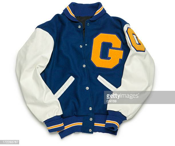 letterman's jacket - bomber jacket stock pictures, royalty-free photos & images