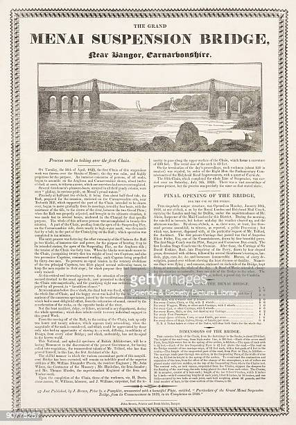 Letterpress and woodblock print, with text describing the construction and opening of the Menai Bridge. The suspension road bridge connecting the...