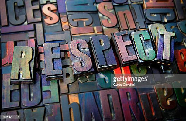 letterpress letters spelling the word respect - respekt stock-fotos und bilder