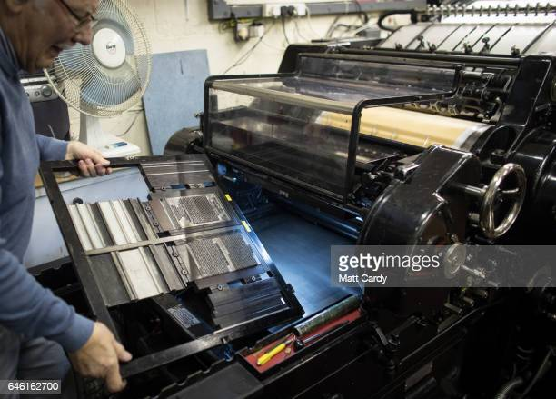 Letterpress printer Stan Lane uses his Heidelberg letterpress at Gloucester Typesetting Services in Stonehouse on February 27 2017 in Gloucestershire...