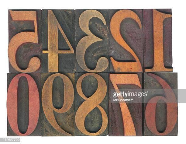 Typographie bois de chiffres