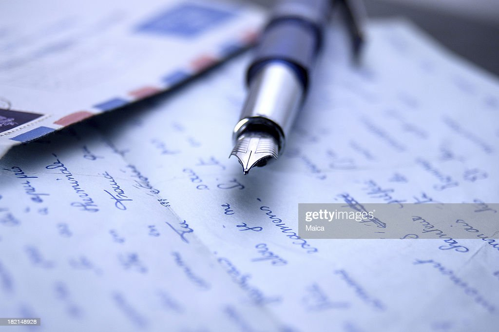 Letters and fountain pen : Stock Photo