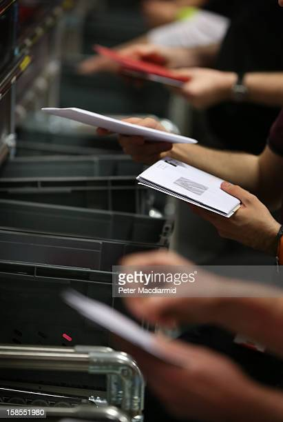 Letters are sorted at Royal Mail's Medway Sorting Centre on December 18 2012 in Rochester England The recently opened £70 million mail centre...