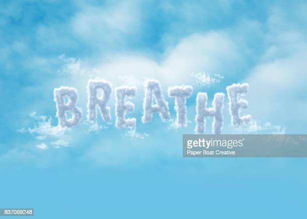 letters made out of clouds that form the word breathe - typographies stock photos and pictures