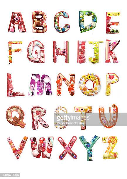 Letters of the Alphabet made out of sweets & candy