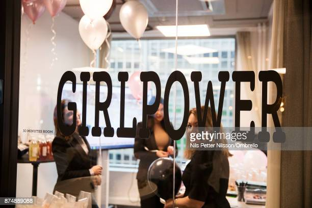 Letters on a window saying Girl Power during the Sime Awards at Epicenter on November 16 2017 in Stockholm Sweden