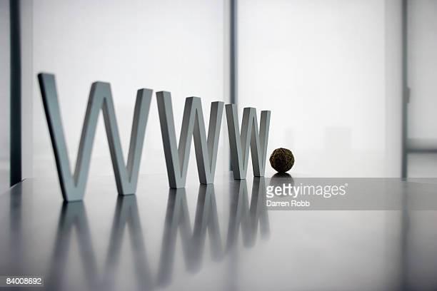Letters on desk spelling WORLD WIDE WEB