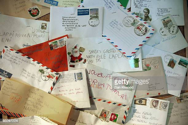 Letters to Santa Claus are pinned to a notice board at Lapland UK on November 20 2009 in Lamberhurst England Lapland UK looks to offer a Christmas...