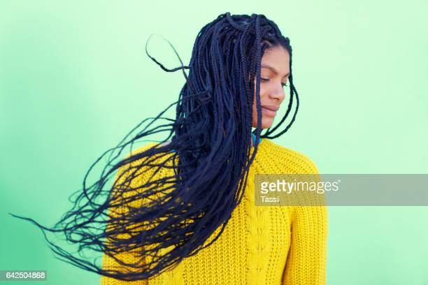 Letting her hair reign free