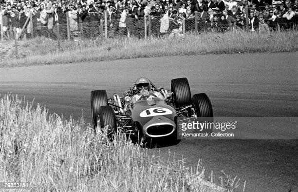 Letting the tail hang out under power Jack Brabham is seen at work in his usual style in the Tarzan corner during the Dutch Grand Prix Zandvoort 24th...
