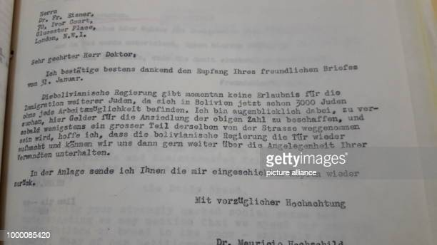 A lettre signed by Moritz Hochschild for the aid of Jews fleeing the Nazi regime seen in the Bolivian Mining archive in El Alto Bolivia 26 May 2017...