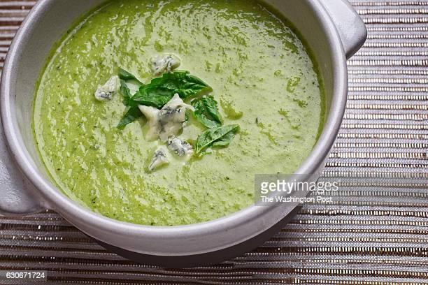 WASHINGTON DC Lettuce and Gorgonzola Soup With Basil photographed in Washington DC