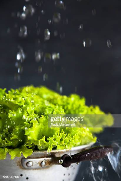 Lettuce on strainer with waterdrops