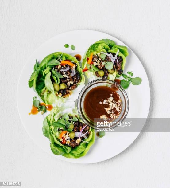 lettuce wraps - appetizer stock pictures, royalty-free photos & images