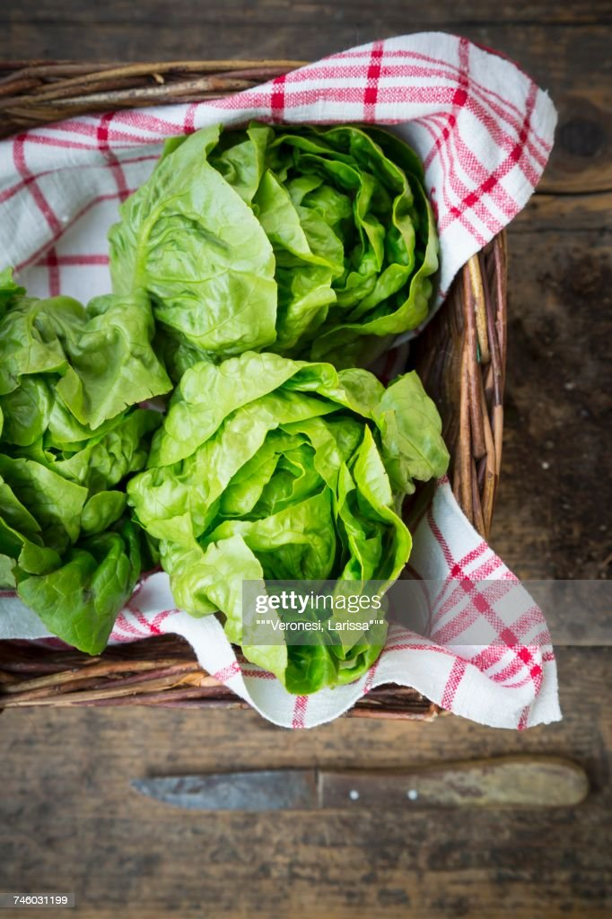 Lettuces on a tea towel in a basket : Stock Photo