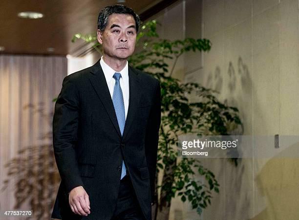 Leung Chunying Hong Kong's chief executive arrives for a news conference in Hong Kong China on Thursday June 18 2015 Hong Kong prodemocracy lawmakers...