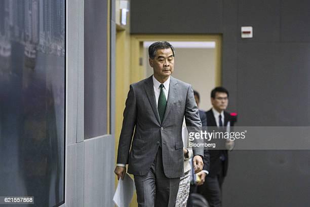 Leung Chunying Hong Kong's chief executive arrives for a news conference in Hong Kong China on Monday Nov 7 2016 China's top legislative body ruled...